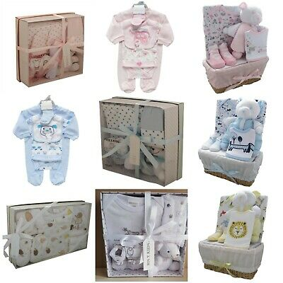 Newborn/New Baby Boy Blue or Girl Pink 4 Piece Gift Box Set Baby Shower Present
