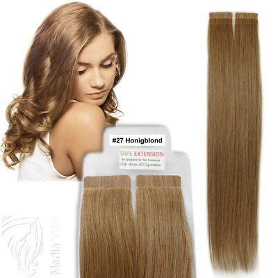 Tape In / On 100% Echthaar Remy Hair Extensions Haarverlängerung 2,5g Tresse #27