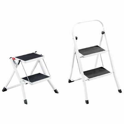 2 Step Ladder Stool Safety Anti Slip Rubber Mat Tread Steel Folding Frame DIY