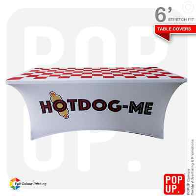 6ft Table Cover Custom Printed Spandex, Stretch Fit, 4 Sided, Fast Delivery