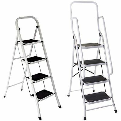 4 Step Ladder Safety Anti Slip Rubber Mat Tread Handrail Steel Folding Frame DIY