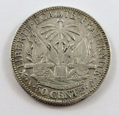 HAITI 50 CENTIMES 1883 VF/EF CONDITION .3356 oz. NATIONAL ARMS  .835 SILVER