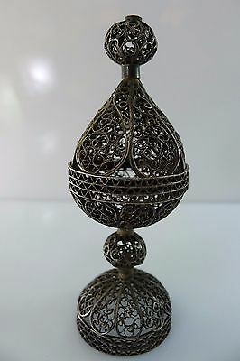 Rare Old Judaica Filigree Made Small Silver 925 Besamim Spice Tower