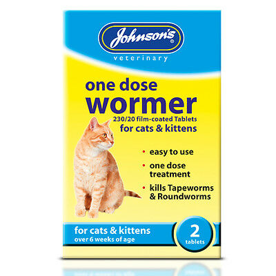 Johnsons Vet Cat wormer worming tablets One Dose Easy  kills Round & tapeworm