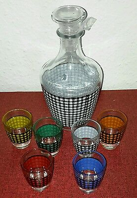 altes Liqueur Service 70er Jahre 70s Pitcher Karaffe 6xGlas multicolor SpaceAge