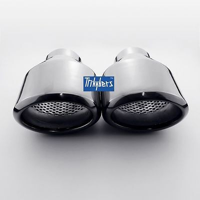 """Pair 2.5"""" oval resonated exhaust tips black plated angle cut 304 stainless steel"""