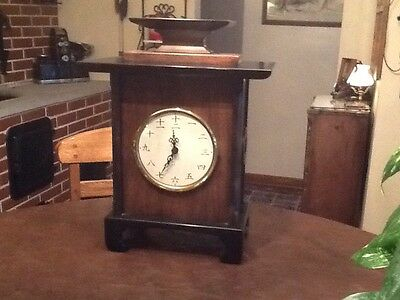 Chinese Numeric Wooden Mantle Clock W/ Chimes ,battery Operated,handcrafted