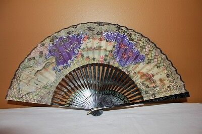 Anique/ Vintage Asian Hand Held Fan Hand Painted