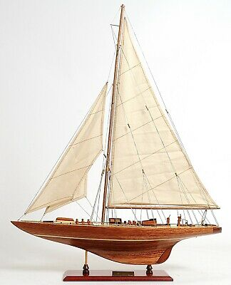 "America's Cup 1933 Endeavour J Class Sailboat 24"" Wooden Model Yacht Assembled"