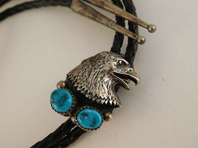 Turquoise Eagle Sterling Bolo Tie Signed Ew Ernest Wood Silver 925 Navajo