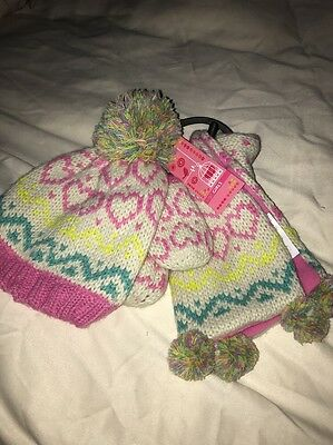 bnwt Marks And Spencer Girls Hat Gloves And Mittens Set 12-18m