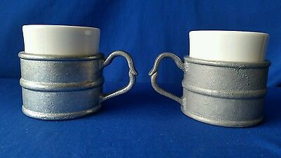 2- Vintage Pewter Shaving Mugs with Ceramic Inserts ☆Excellent