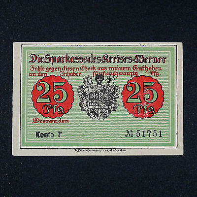 A WOW  Notgeld Weener, 25 Pfennig Schein german emergency money unc -selten RRR-