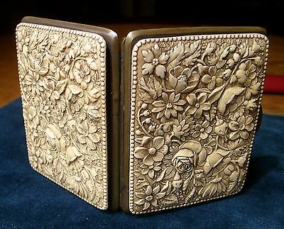 Antique Carved French Ivory Coin Purse Case Milano Torino Roma
