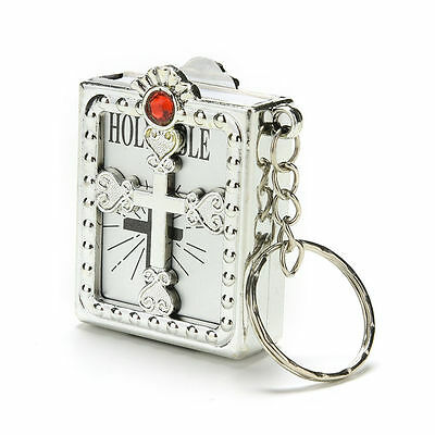 Silver Bible Religious Holy Saint / Keyring Great Gift Idea Dangle Charm Book