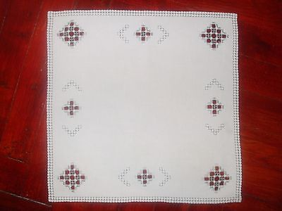 Beautiful Vintage Cutting Hand-Embroidered Linen Hardanger 11.6''