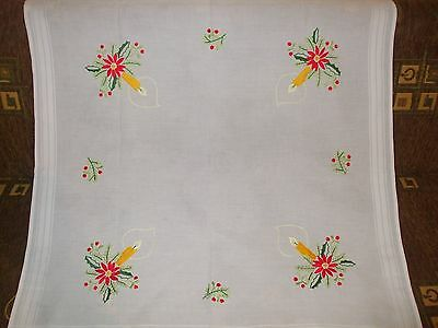 Vintage  Cotton  Christmas Sweden Tablecloth hand- embroidered