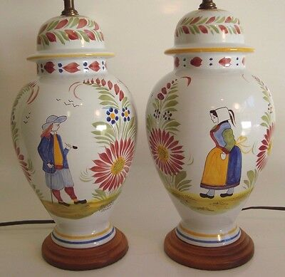 Pair of FRENCH QUIMPER Pottery Vintage Table Lamps ~ BRETON MAN AND WOMAN