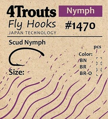 Scud Nymph Fly tying Bend Hooks #14 #16 100 pcs/pack Brand 4Trouts Fly #1470