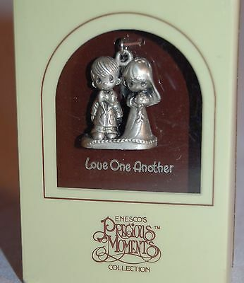 Precious Moments Silverplate Charm Rare Jy151 Love One Another With Box #