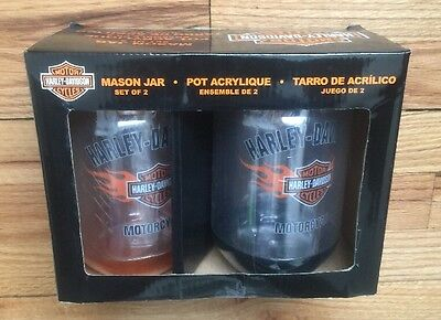 Harley-Davidson Flaming Bar & Shield Mason Jar Cups, 2 Pk Gift Set Nib P24084901