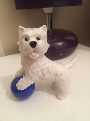 """Westie Porcelain White Terrier Dog Figurine """"Where's That Ball"""" From Westminster"""