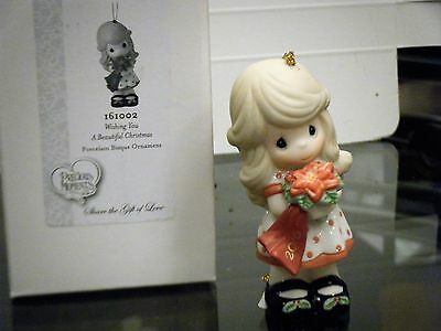 """2016 Precious Moments """"Wishing You a Beautiful Christmas"""" Ornament NEW In Box"""