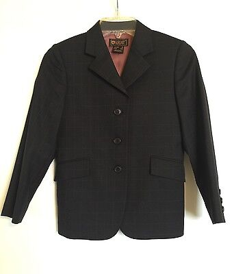 ARIAT Riding Jacket Show Coat Girls 10 140 Navy Blue Windowpane