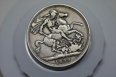 Uk Gb Crown 1899 Silver Nice Details A60 #z9259