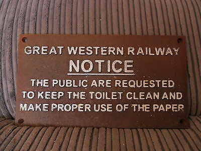 """GWR  """"Notice""""  Brown  Cast Iron Sign..  GC.."""