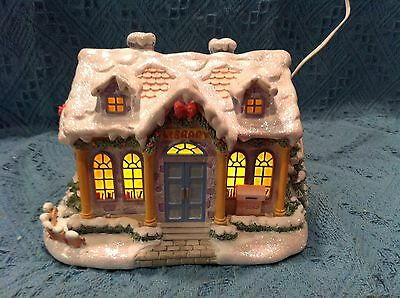 """New 2001 Bradford Precious Moments """"christmas Village Quiet Time Library"""""""