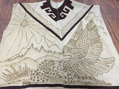 Mexico Vintage Burnt Scenery Suede Leather Poncho Fringe Western Hippie Mens