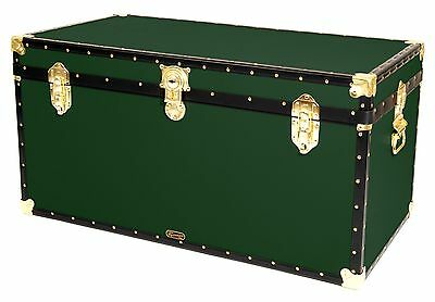 "GREEN Traditional British Mossman Made 40"" Queen Travel Storage Shipping Trunk"
