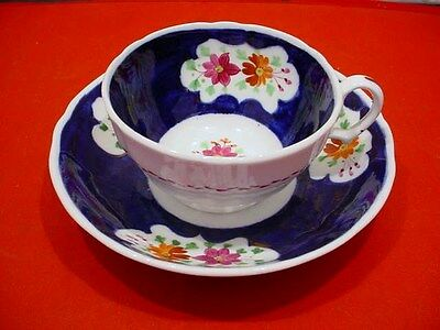 Antique Gaudy Welsh Cup + Deep Saucer Handpainted Floral w/Cobalt + Pink Lustre