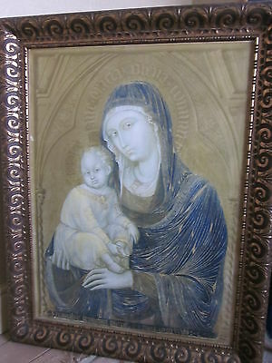 Large vintage religious framed Italian/Byzantine print of Madonna and child