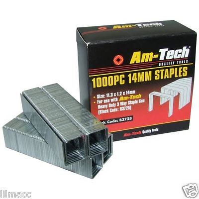 HIGH Quality New 1000pc 14mm Gun Staple Staples Appox Size: 11.3 x 1.2 x 14mm