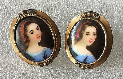VICTORIAN Hand Painted PORTRAIT Screw Back EARRINGS 12k GF. FREE Ship US Only