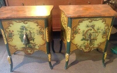 Pair Of Vintage Chinoiserie Painted Night Stands Chests Commodes Italian