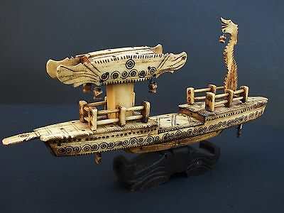 Antique Chinese Asian Hand Carved Bovine Bone Dragon Junk Boat with Wooden Base