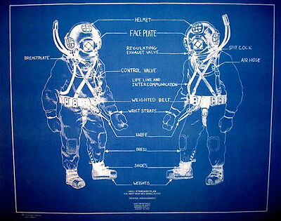 "US Navy Mark V Diving Helmet 1943 Blueprint Plan 18""x22""  (297)"