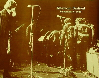"Rolling Stones Poster Print 1969 Altamont Festival - Hells Angels Photo 11""x14"""