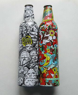 2 OPENED Mountain Dew Green Label Art Collectible Aluminum Bottles