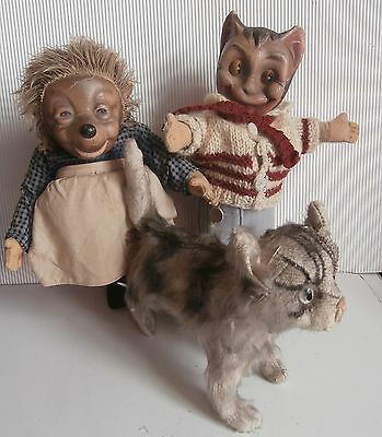 3 peluches/ nounours/  ours   anciennes CHAT  HERISSON    STEIFF   /CHAT  GERMAN