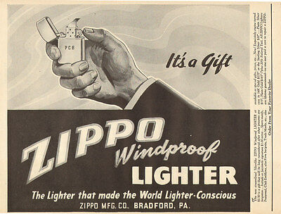 1940s vintage AD ZIPPO Cigarette Lighters Windproof Terrific Bold Ad ! 120216