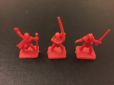 HEROQUEST X3 Early Lighter Red Heroes Elf, Wizard, Barbarian Rare MB 1989