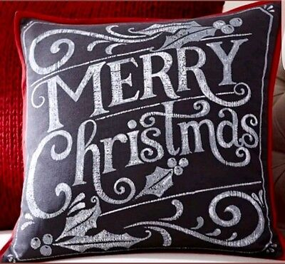 "Pottery Barn~Merry Christmas~Pillow Cover~20"" Square"