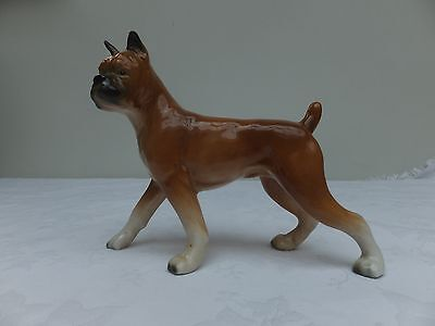 Vintage Ceramic Hand Painted Dog Boxer Figurine Pottery Buster