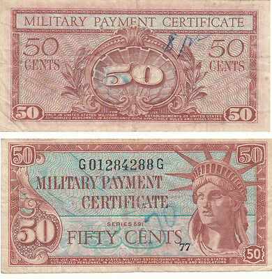 Us Military Payment Certificate 50 Cents,series 591,# G01284288G