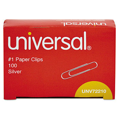 Paper Clips, Smooth Finish, No. 1, Silver, 100/Box - x 10 boxes (1000 total)