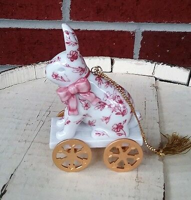 Royal Albert Old Country Roses Bunny Pull Toy Ornament Victorian - BEAUTIFUL